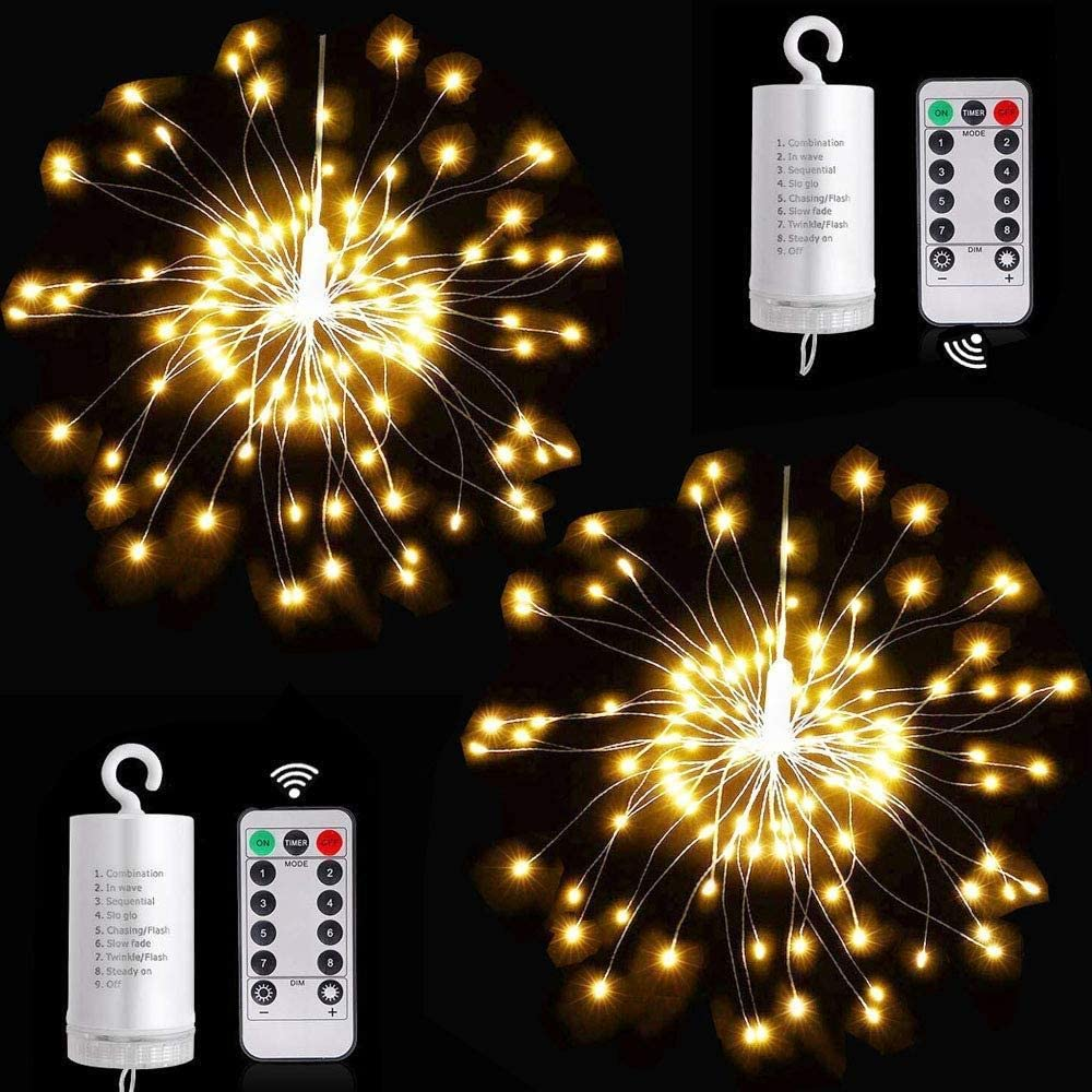 Kooluminous -2 Pack Firework Starburst Lights 200 LED Bulbs Copper Bendable Wire Fairy Lights with 8 Modes Remote Control Waterproof Hanging LED Ball Light for Parties Indoor & Outdoor (Warm White)