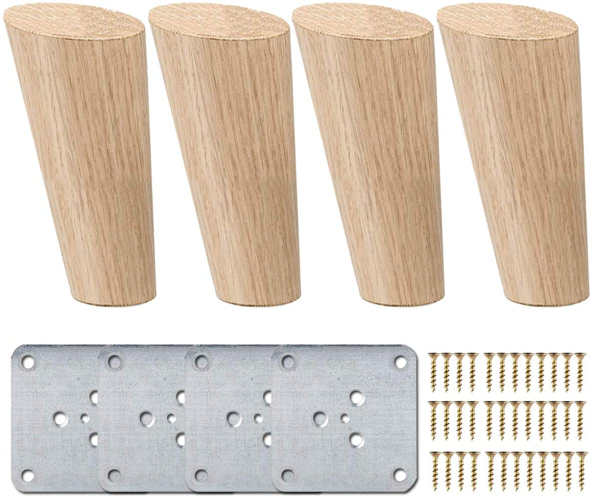La Vane 10 inch / 25cm Wooden Furniture Legs, Set of 4 Solid Wood Oblique Tapered Furniture Replacement Feet with Mounting Plate & Screws for Sofa TV Cabinet Bed Dining Table
