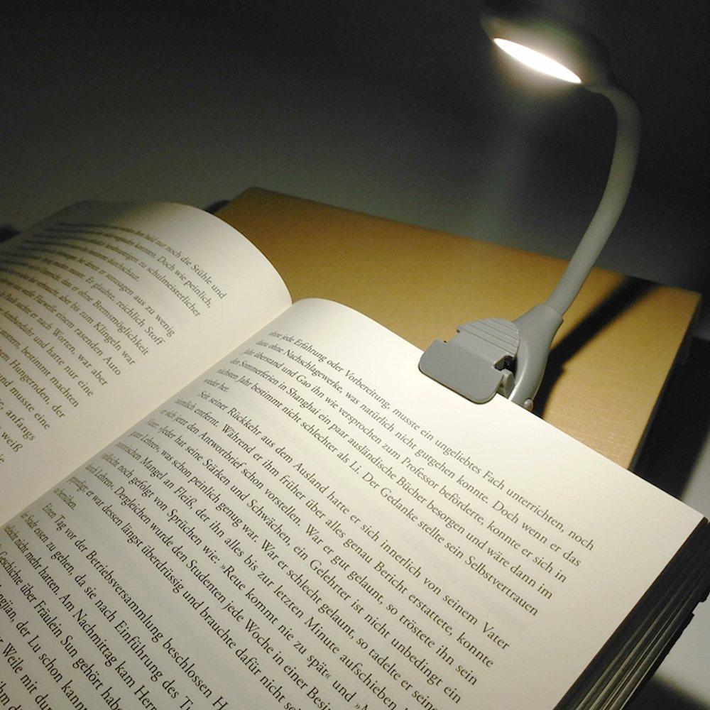 Libro luz LED lampara de lectura recargable,LUXJET® Clip Luz de lectura,Temperatura de 3 colores, brillo ajustable,Noche Lampara de Lectura con Brazo ...