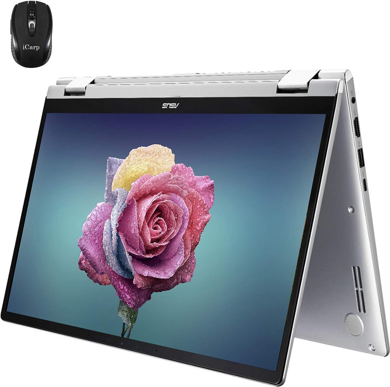 "2020 Flagship Asus zenbook 14 2 in 1 Laptop Computer 14""FHD Touchscreen AMD Quad-Core Ryzen 5 3500U ( Beats i7-7500U ) 8GB DDR4 512GB SSD Backlit WiFi HDMI Webcam Win 10 + iCarp Wireless Mouse"