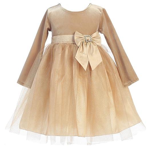 35f860e96f07 Lito Baby Girls Gold Velvet Bow Accent Glitter Tulle Occasion Dress 6-12M