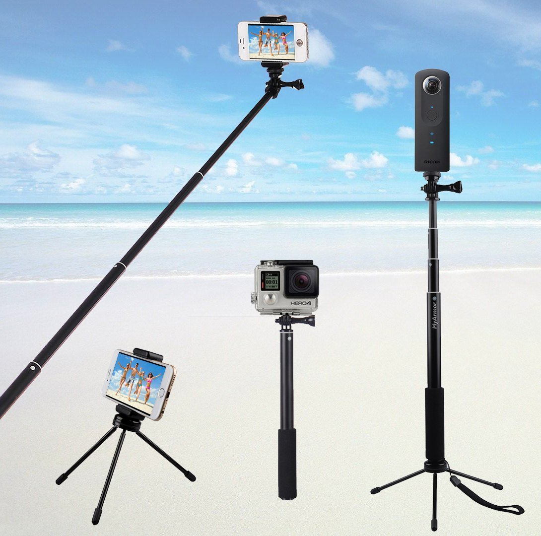 MyArmor Selfie Stick Tripod, Lightweight Extendable(30-93cm) Holder Monopod for iPhone 7, iPhone 6/6S, Galaxy S7 S7 Edge, Other Smartphone or Gopro Hero 5/4/3/3+/2/1