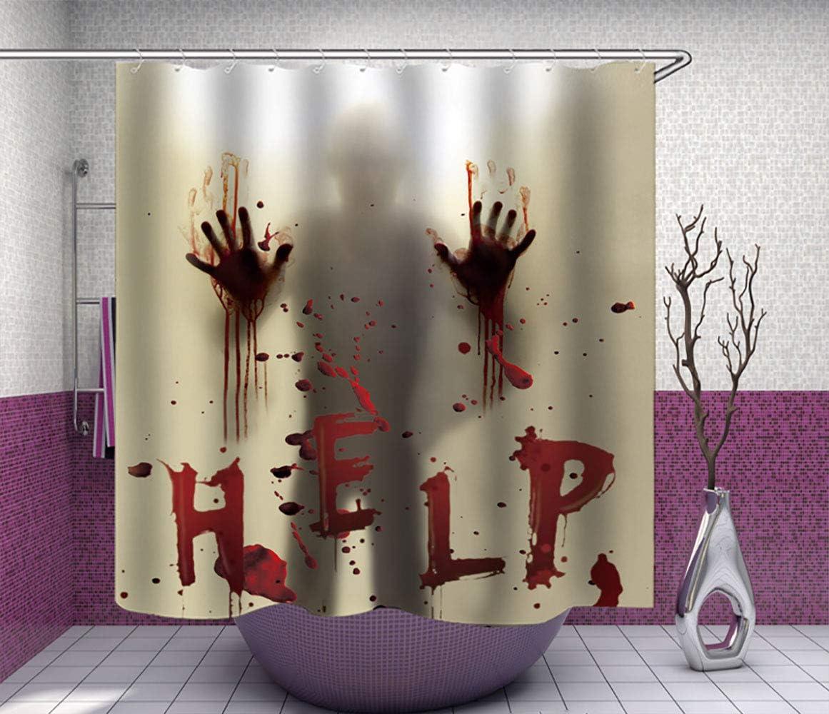 Help Bloody Halloween Waterproof Polyester Shower Curtain Bathroom Mat