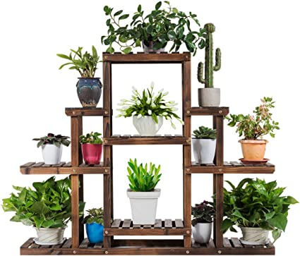 Amazon Com Giantex Flower Rack Wood Plant Stand Wood Shelves Bonsai Display Shelf Indoor Outdoor Yard Garden Patio Multifunctional Storage Rack Bookshelf W Hollow Out Rack 47 5 Lx 10 Wx 38 H 6 Tier Garden