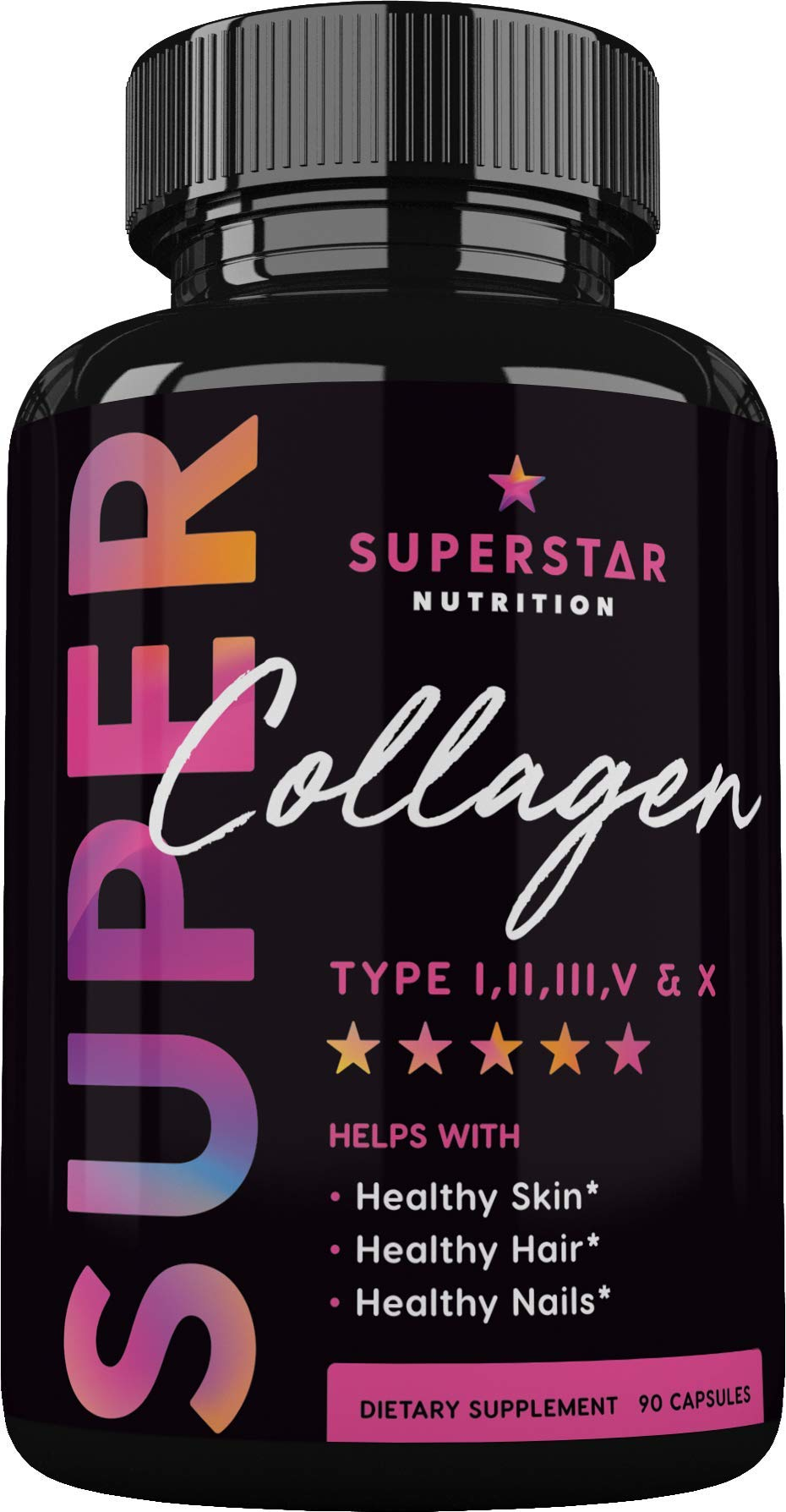 Collagen Capsules for Women (Type I, II, III, V, X) – Collagen Peptides Pills for Healthy Hair, Skin, Nails, Anti-Aging and Bones - Collageno Capsules for Women - 90 Multi Collagen Supplements 1500mg