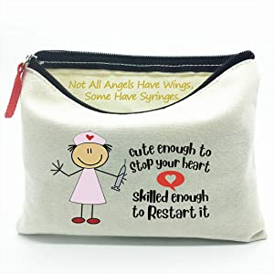 Cute Enough to Stop Your Heart Skilled Enough to Restart It, Gift for Nursing Student,Nurse Practitioner Gifts for Women Nurses Week, Nursing School Supplies Gifts, Makeup Bag Gift