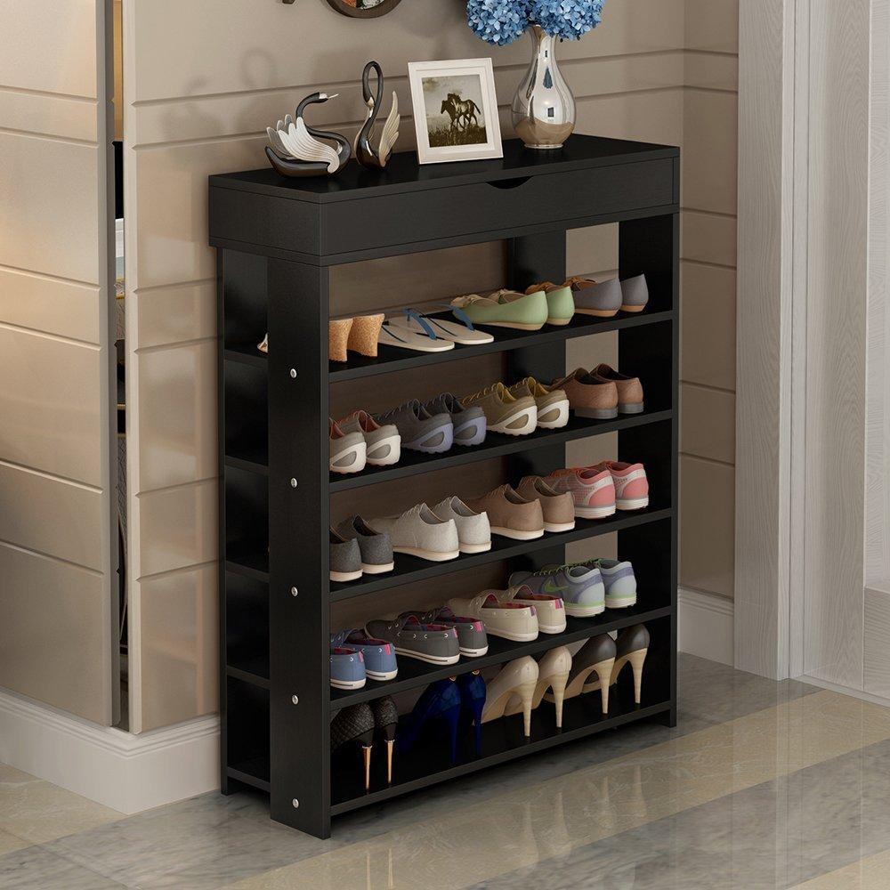 soges 29.5'' Shoe Rack 5 Tier Free Standing Wooden Shoe Storage Shelf Shoe Organizer, Black L24-H by soges (Image #3)