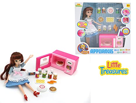 Amazon Com Mini Toy Appliance Kitchen Set With Doll Cook Realistic