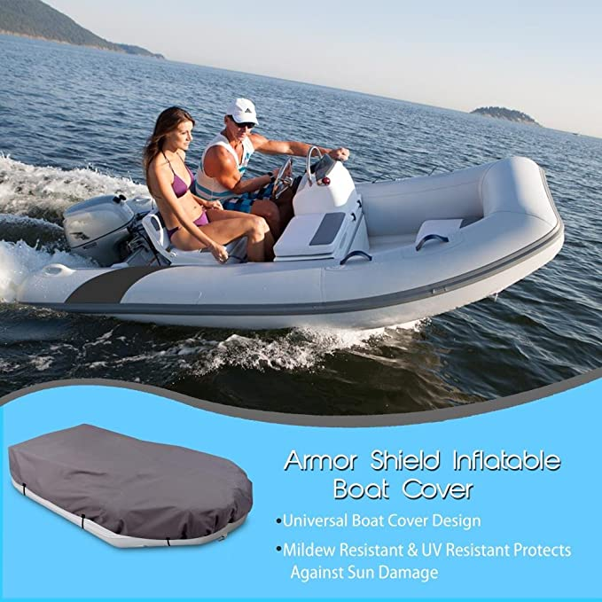 9.5/' to 10.5/' ft Armor Shield Protective Storage Pyle Inflatable Boat Cover Waterproof 600 Denier Canvas Mildew and Weather Resistant with UV Sun Damage Protection PCVFLT14