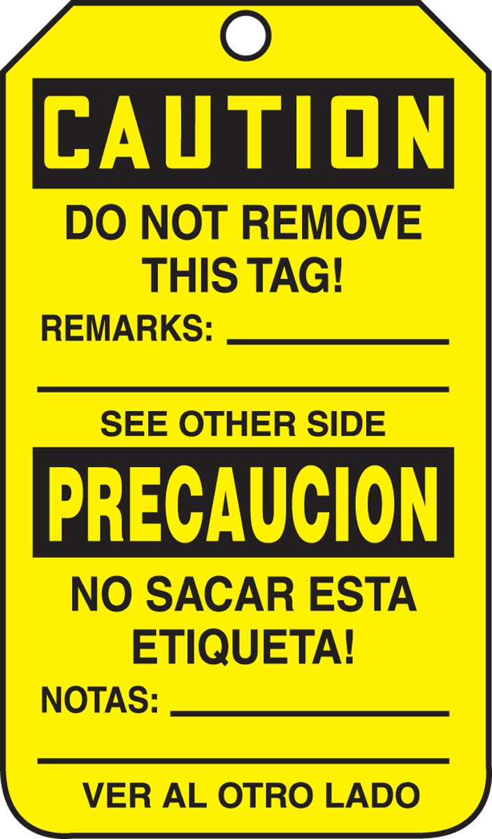 LegendCaution DO NOT Operate Black on Yellow 5.75 Length x 3.25 Width x 0.015 Thickness Accuform TSP626PTM RP-Plastic Bilingual Spanish Safety Tag Pack of 5