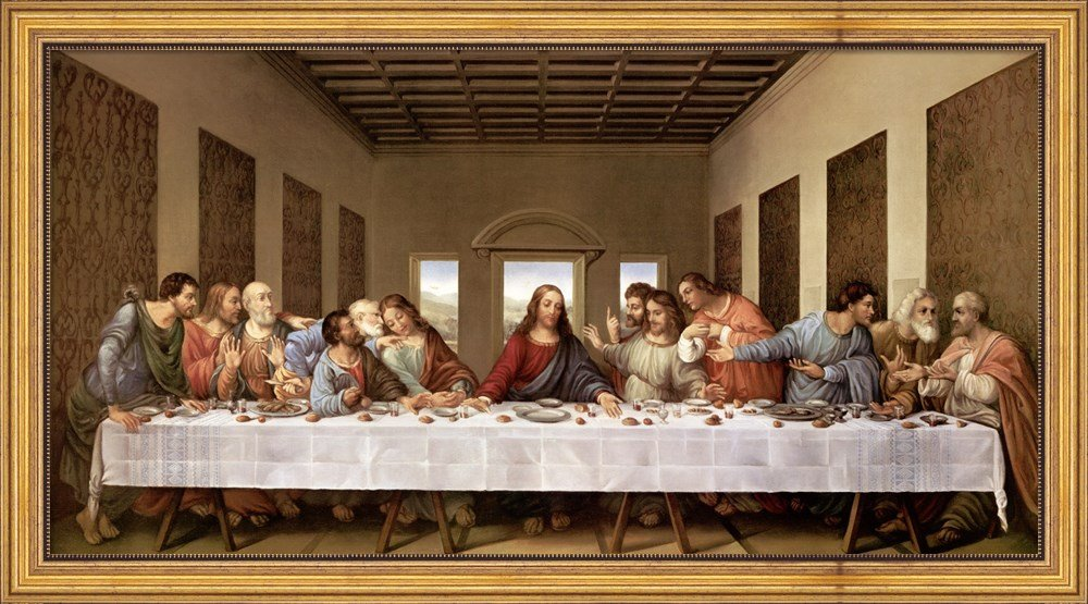 The Last Supper by Leonardo Da Vinci Framed Art Print Wall Picture, Wide Gold Frame with Hanging Cleat, 43 x 24 inches