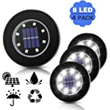 Solar Powered Ground Lights,THINKIDEA Pathway Disk Lights,Outdoor Solar Powered Waterproof Landscape Spike Light for Deck Garden Yard Patio Path Pool Driveway Walkway (White 4 Pack 8-LED)