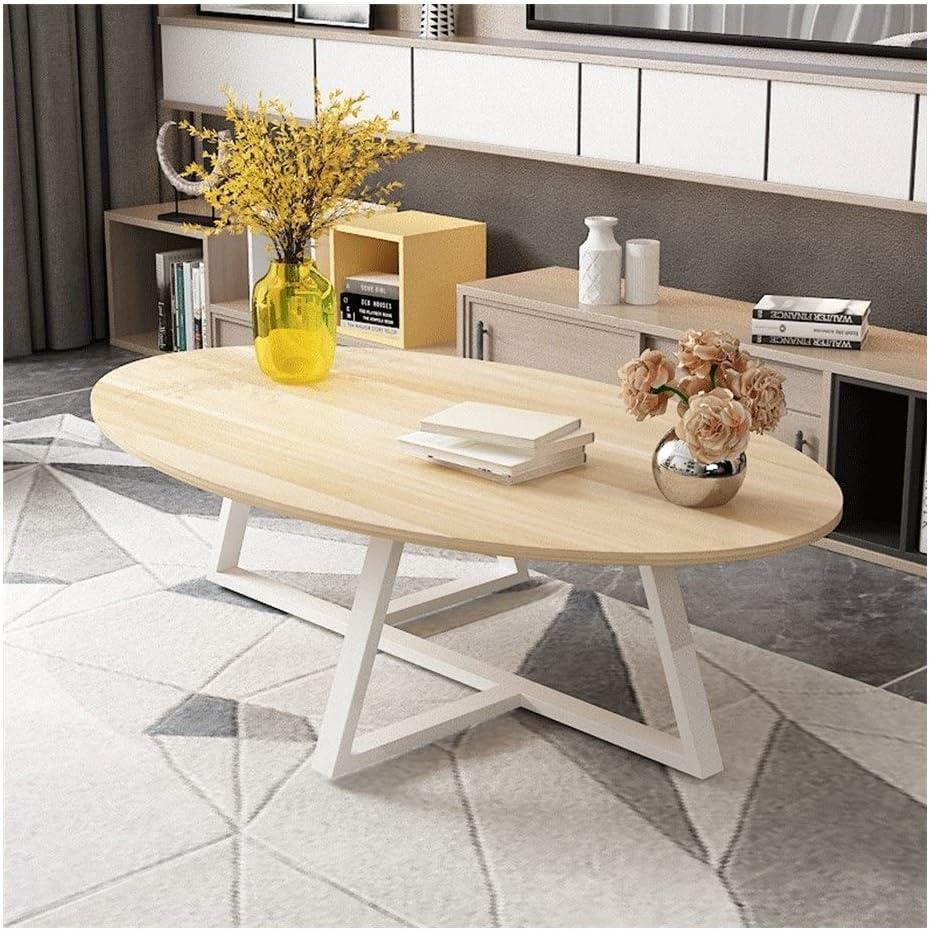 Voor Goedkoop Kiki Moderne, eenvoudige dikke stalen frame, salontafel, bijzettafel, ovaal artificial plank, bijzettafel voor woonkamer-sofa, couchtafels Hout dHMX7zl