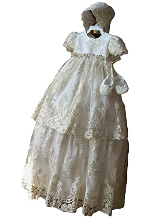 Clothing, Shoes & Accessories Baby & Toddler Clothing Official Website New Baby Girls Ivory Christening Baptism Dedication Dress Gown W/ Bonnet