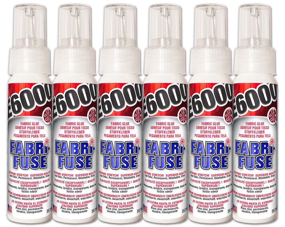 (Pack of 6) E6000 Fabri-Fuse 59.1ml 2 oz. CLEAR Flexible Washable Fabric Glue Low Odor EU10565000 Eclectic