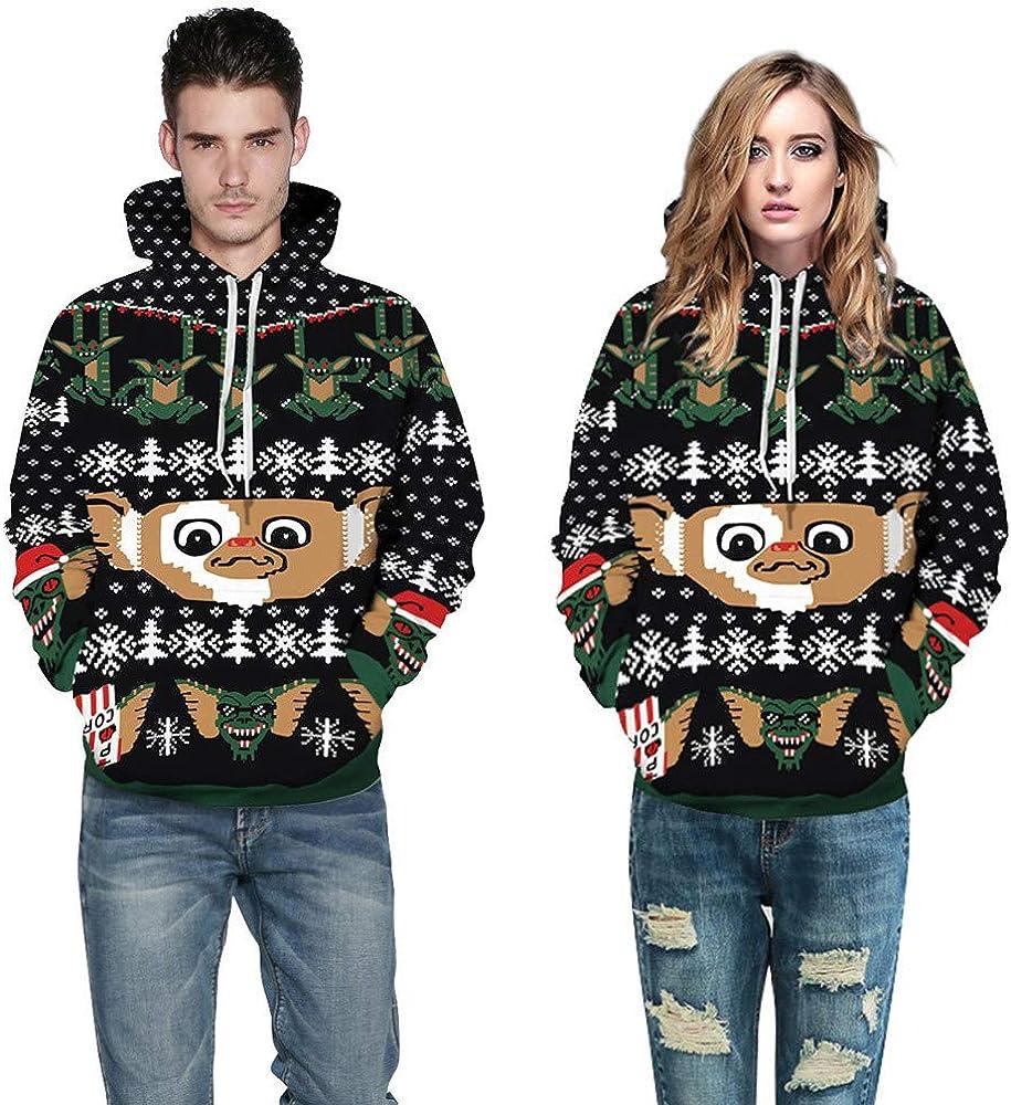 Christmas Costume Couples Sweatshirts Women Men 3D Print Hoodie Long Sleeve Pullover Top