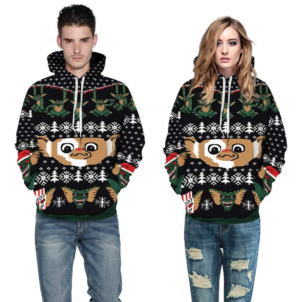 Mr & Mrs Gift for Couples Binmer Christmas Printing Long Sleeve Hoodies Sweatshirt (XXL/XXXL, Black) by Binmer_Shirts