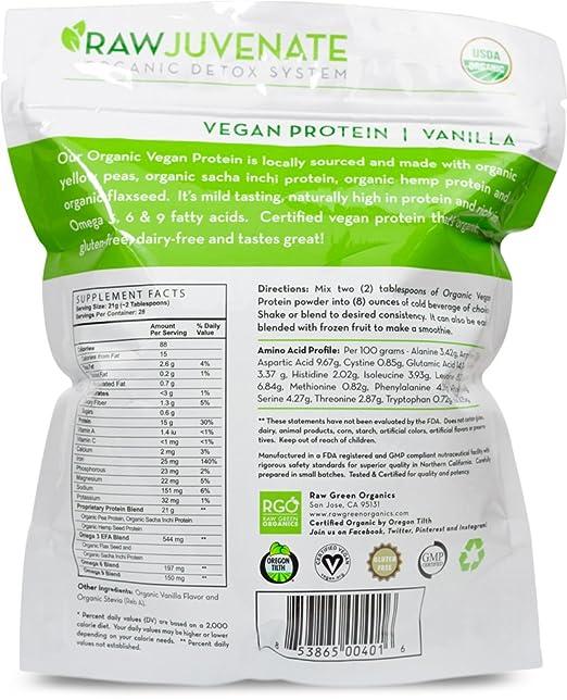 Amazoncom Raw Green Organics RawJuvenate Organic Vegan