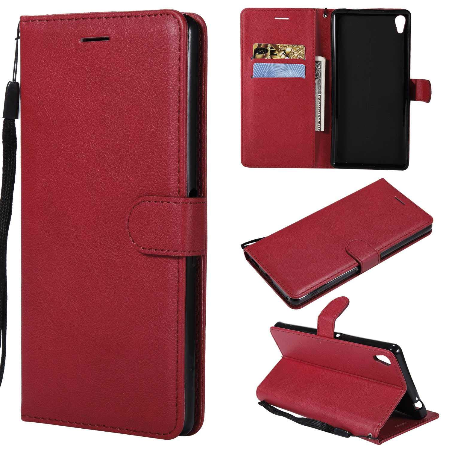 Sony Xperia XA Ultra Wallet Case, CUSKING Premium Leather Cover with Silicone Inner Case for Sony Xperia XA Ultra [Card Holder] [Magnetic Closure] [Hand Strap] - Red