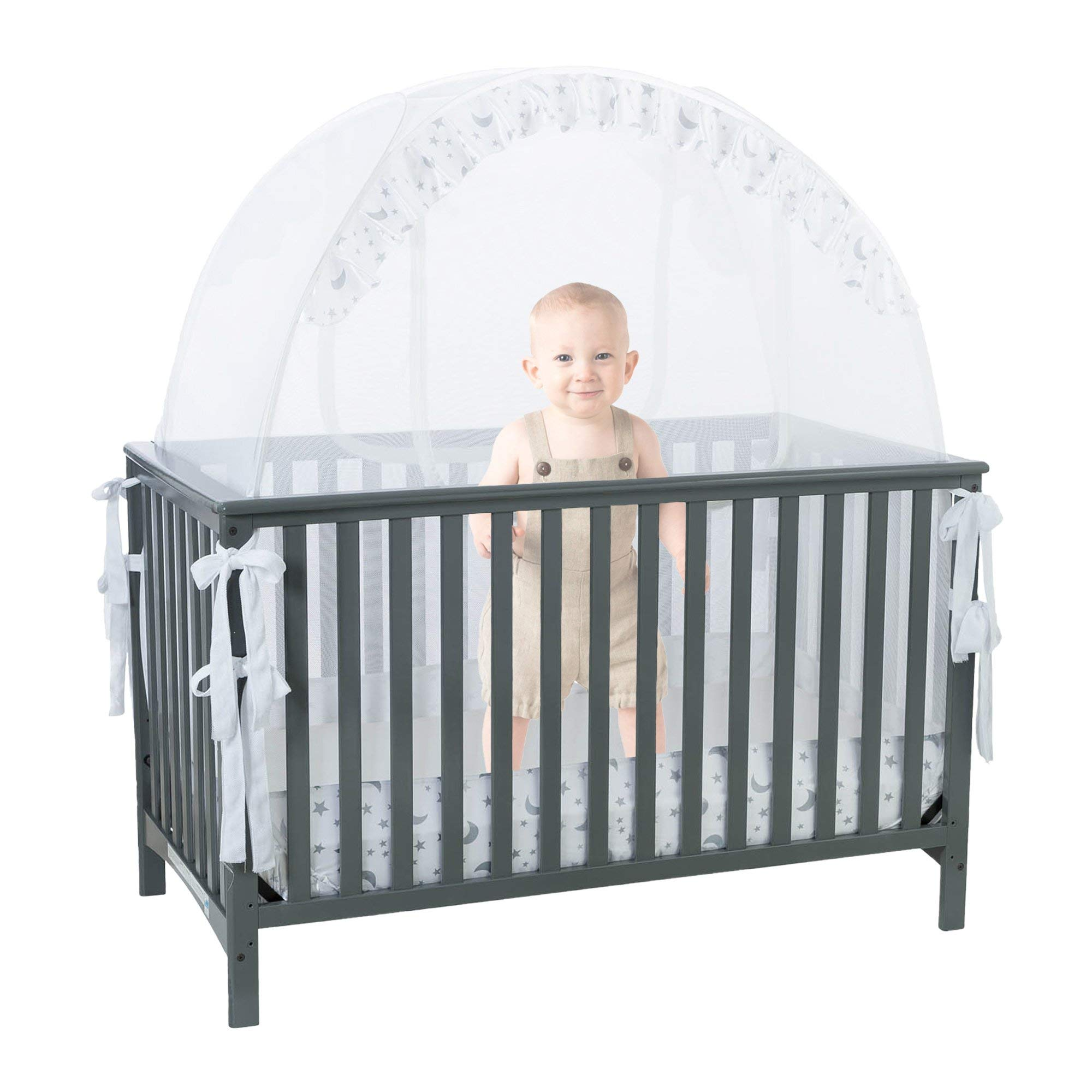 Baby Crib Safety Pop up Tent: Premium Baby Bed Canopy Netting Cover  See Through Mesh Top Nursery Mosquito Net  Stylish and Sturdy Unisex Infant Crib Tent Net  Protect Your Baby from Falls and Bites by 1st Baby Safety