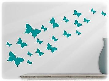 Wandfabrik   Wandtattoo   20 Hochwertige Schmetterlinge (Set2) In Türkis