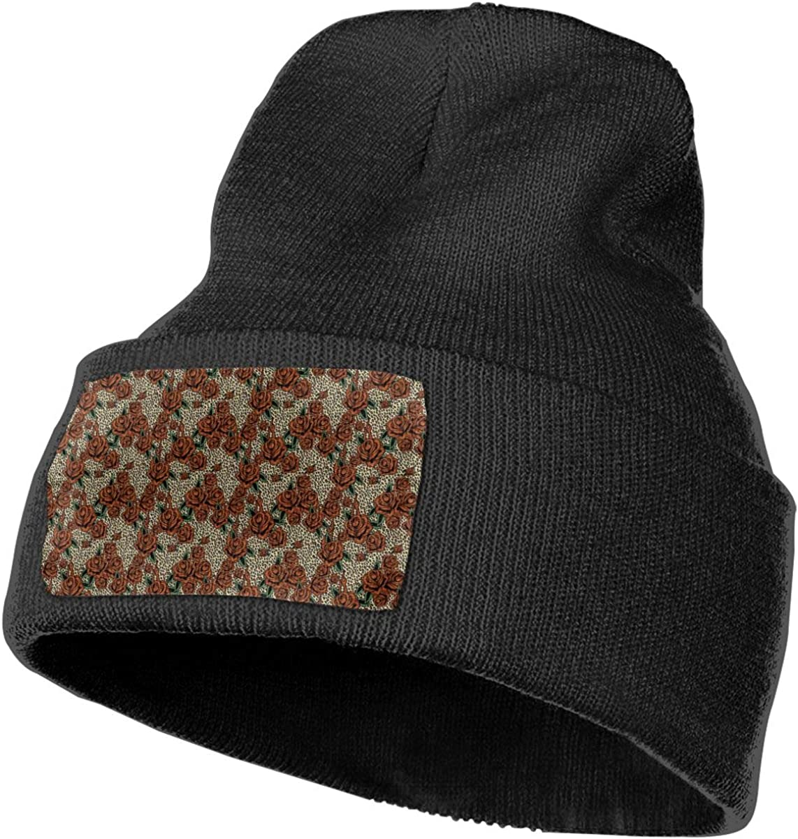 Adults Red Roses Leopard Print Elastic Knitted Beanie Cap Winter Warm Skull Hats