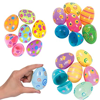 36 Count Plastic Easter Eggs Assorted Prints And Colors