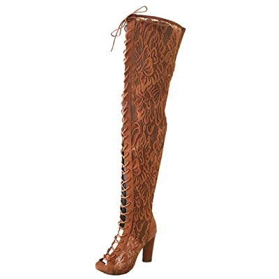 Sunlight 01M Womens Over The Knee Floral Mesh Open Toe Boots | Over-the-Knee