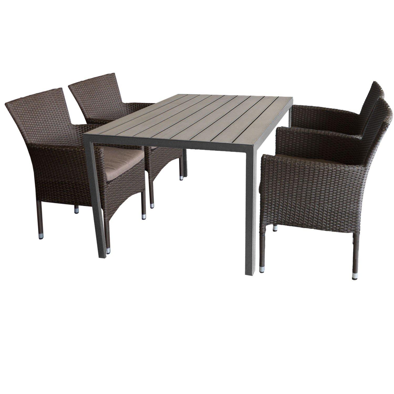 5tlg. Gartengarnitur Aluminium Gartentisch 150x90cm mit Polywood Tischplatte Grau stapelbare Polyrattan Gartensessel braun-meliert inkl. Sitzkissen