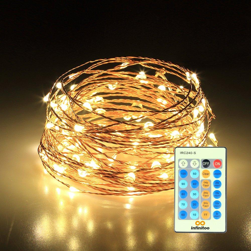 infinitoo LED Lichterkette, 10 Meter 100 LED Kupferdraht ...