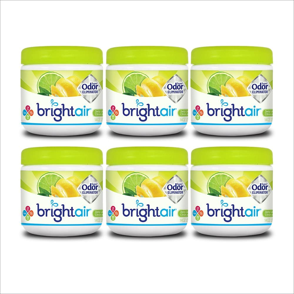 Bright Air Solid Air Freshener and Odor Eliminator, Zesty Lemon and Lime Scent, 14 Oz Each, 6 Pack