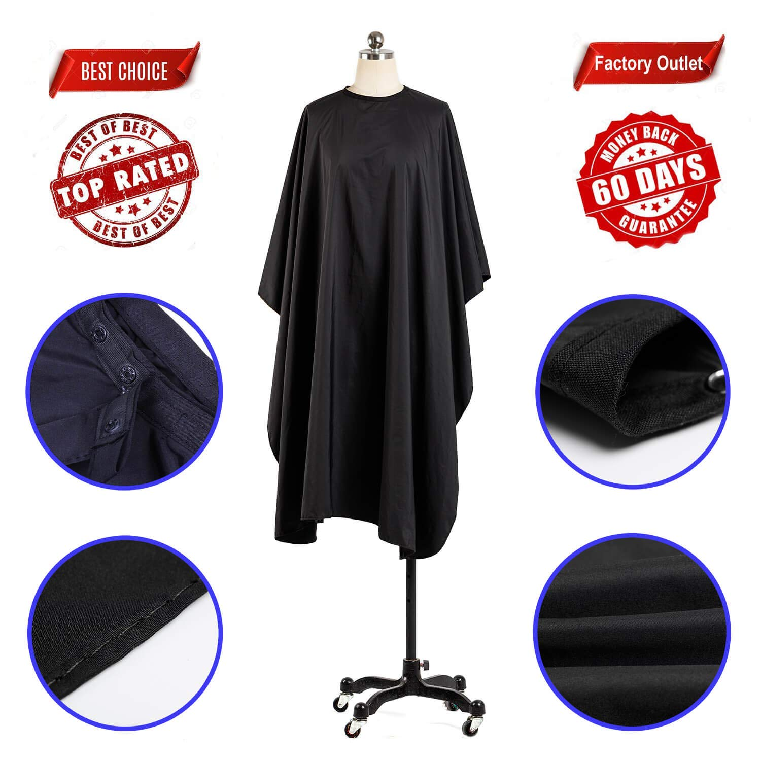 Coobi Professional Hair Salon Nylon Cape with Snap Closure- 62 x 50 Black