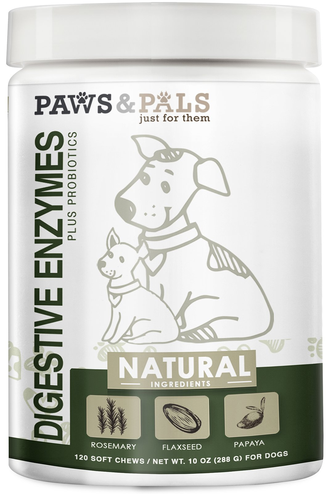 Dog Digestive Enzymes Plus Probiotics Soft Chew Vitamins with Rosemary, Flax Seed, Papaya - 120 Count