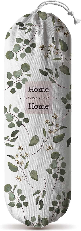 Hglian Grocery Bag Storage Dispenser,Wall Mount Plastic Bag Holder,Garbage Shopping Trash bags Carrier Organizer,Eucalyptus Leaves Farmhouse Home Kitchen Decor,Gifts for Women Grandma Mom