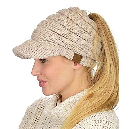 Amazon.com  Aolvo Ponytail Beanie with Visor acb0fd4e72e