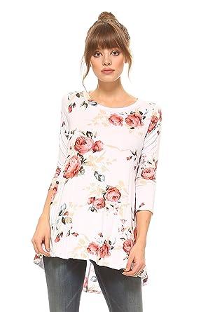 1775f03134d Frumos WomensTunic Round Neck 3 4 Sleeve Top White Flower 3X-Large at  Amazon Women s Clothing store