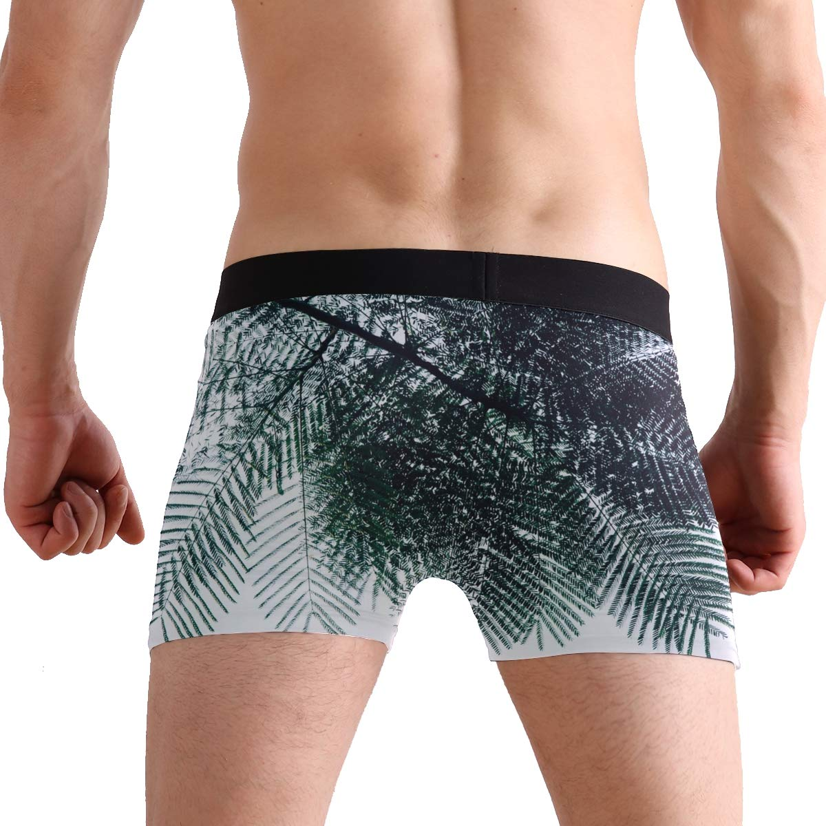 Hipster Unique Green Leafed Tree During Boxer Briefs Mens Underwear Boys Breathable Stretch Low Rise