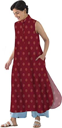 RADANYA Women's Sleeveless Digital ikkat Printed Party Long Tops Tunic Kurta Kurti with Side Pocket