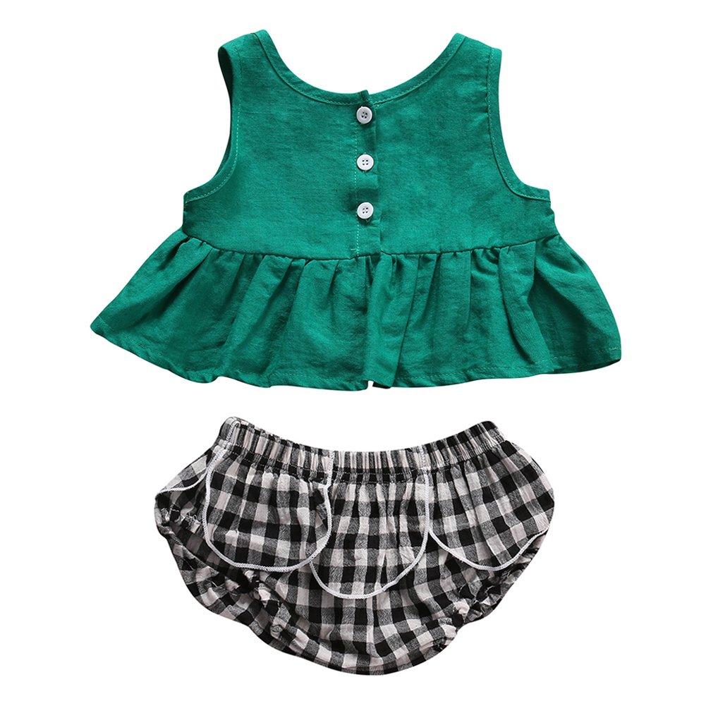 KIDSA 1-3T Baby Little Girls Blouse Tank Tops + Plaid Short Pants Summer Outfits Set