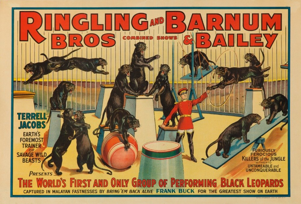Ringling Bros and Barnum and Bailey – Terrell JacobsビンテージポスターUSA C。1938 36 x 54 Giclee Print LANT-62963-36x54 36 x 54 Giclee Print  B01MPVM5M7