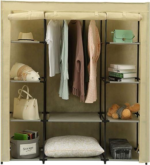 Non-Woven Fabric Wardrobe Portable Clothes Closet Storage Organizer 10 Shelves