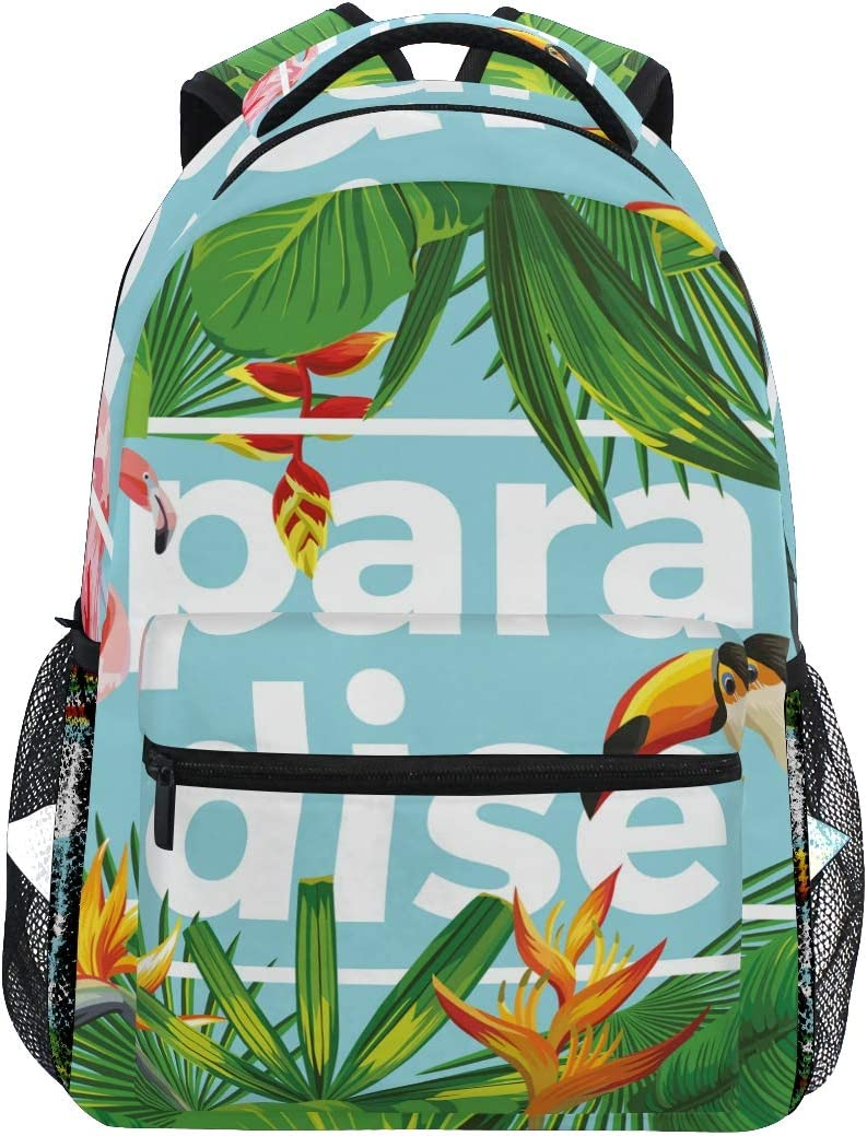 Tropical Palm Leaves Flamingo School Bookbags Computer Daypack for Travel Hiking Camping Laptop Backpack Boys Grils