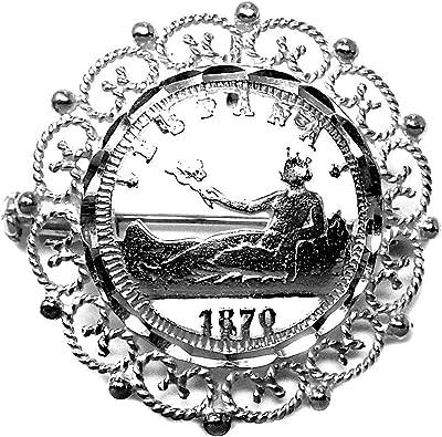 Broche alfiler colgante plata Ley 925m moneda España calada [AC0034]: Amazon.es: Joyería