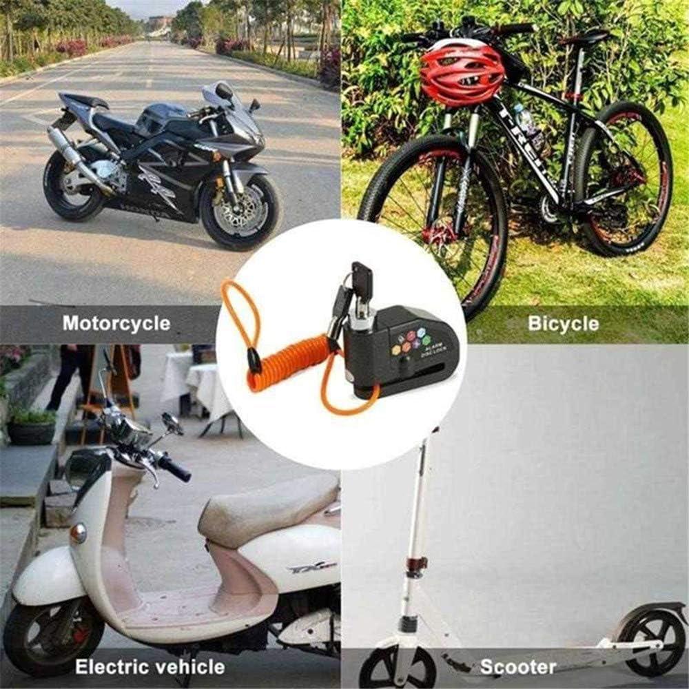 Anti-vol De Moto Bike Disc Lock Set avec Rappel par C/âble Et Sac De Rangement Locks Scooter pour La Plupart des Motos