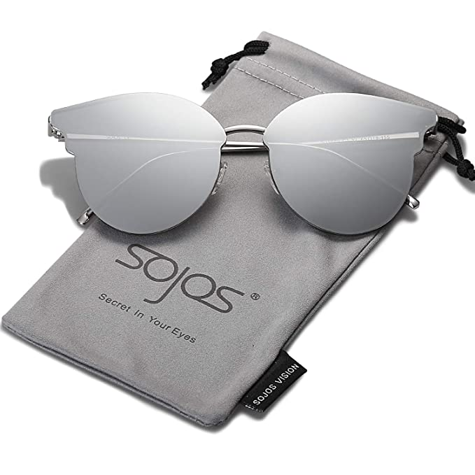 SojoS Gafas De Sol Unisex Modernas Retra Forma Pantos Lentes Redondas  Espejo SJ1055 Con Marco Delgado Plateado Lente Espejo Plateado  Amazon.es   Ropa y ... 658b1eed62d3