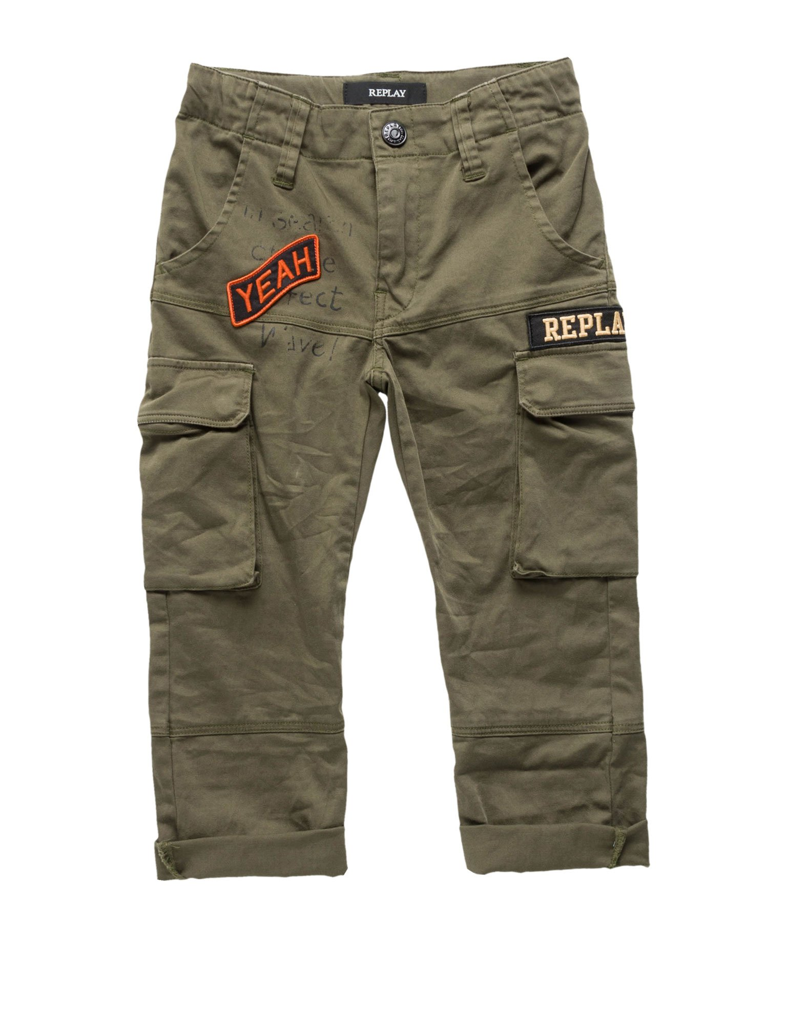 Replay Slim Fit Satin Boy's Cargo Pants In Green In Size 8 Years Green