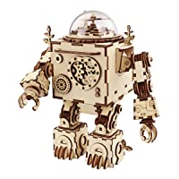 Deals on Robotime 3D Puzzle Music Box Wooden Craft Kit, Robot