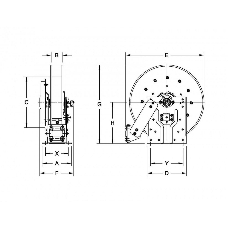 Hannay Reels N500 Series Spring Rewind Reel - N515-14-16-8L - 25ft Max Hose  Length 1/4in or 3/8in I.D. - 8, 000 PSI - For High Pressure Hose  Applications ...