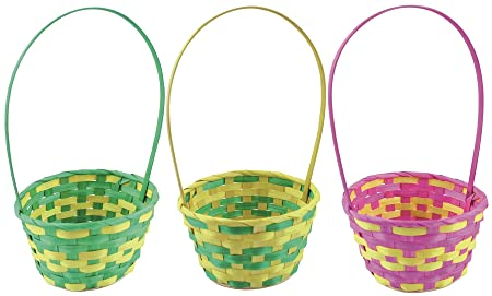 Bright color easter egg hunt wicker bamboo basket kid child parties bright color easter egg hunt wicker bamboo basket kid child parties flower craft gift bag negle Images