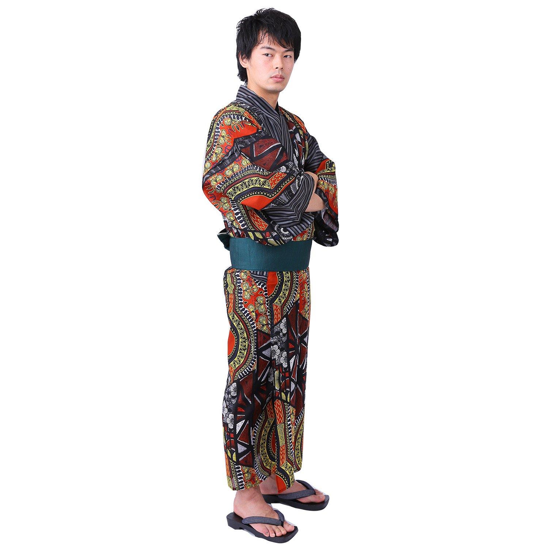 YOKAYOKA メンズ 浴衣 単品 B07D5723PM  レッドイエロー M